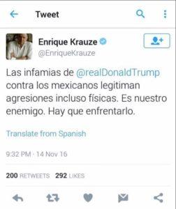 El twitt que borró Krauze Kleinbort de Televisa que incita al magnicidio de Trump