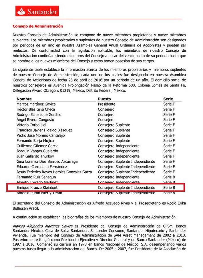 Enríque Krauze Kleinbort miembro del Consejo de Administración de Santander